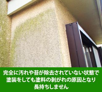 完全に汚れが除去されていない状態で塗装をしても剥がれの原因となる