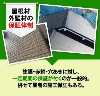 屋根材、外壁材の保証体制