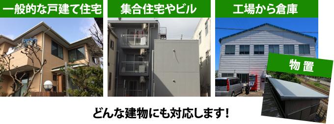 戸建、ビル、工場、倉庫どんな建物にも対応します