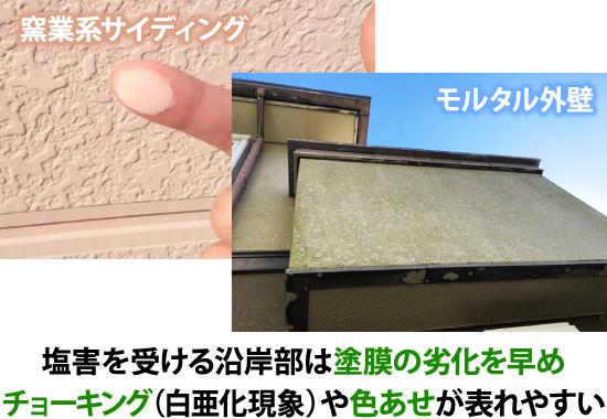 塩害は塗膜の劣化を早めチョーキングや色褪せが表れやすい
