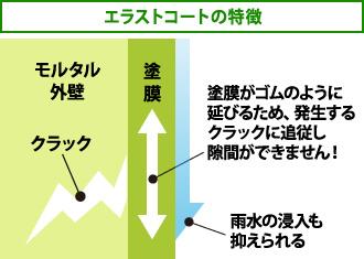 「エラストコートの特徴」塗膜がゴムのように 延びるため、発生する クラックに追従し隙間ができない