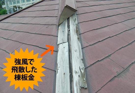 強風で飛散した棟板金