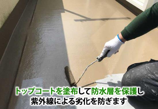 FRP防水はトップコートを塗布して防水層を保護し紫外線による劣化を防ぎます
