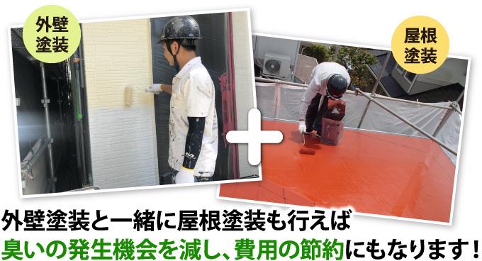 外壁塗装と一緒に屋根塗装も行えば臭いの発生機会を減し、費用の節約にもなります