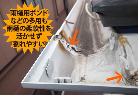 雨樋用ボンドなどの多用も雨樋の柔軟性を活かせず割れやすい