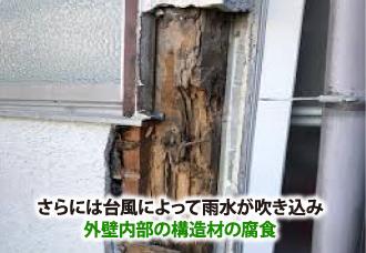 台風で外壁内部の構造材が腐食