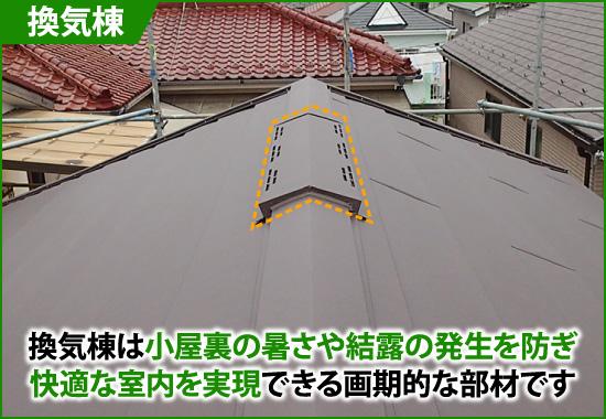 換気棟は小屋裏の厚さや結露の発生を防ぐ