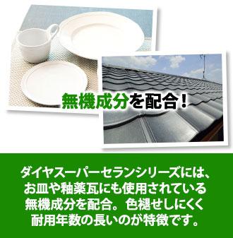ダイヤスーパーセランシリーズにはお皿や釉薬瓦にも使用されている無機成分を配合。色あせしにくく耐用年数が長いのが特徴です