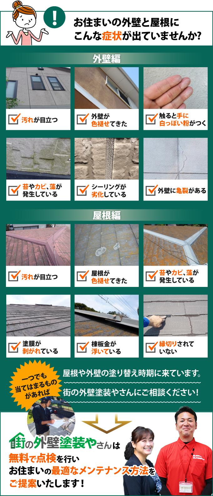 汚れが目立つ、外壁・屋根が色褪せてきた、触ると手に白っぽい粉がつく、苔やカビ、藻が発生している、シーリングが劣化している、外壁に亀裂がある、塗膜が剥がれている、棟板金が浮いている、縁切りされていない、などの症状が出ている方は、街の外壁塗装やさんで無料で点検を行いませんか?最適なメンテナンス方法をご提案します!