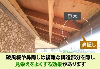 破風板や鼻隠しは複雑な構造部分を隠し見栄えをよくする効果があります