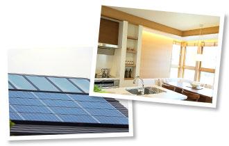 キッチンと太陽光発電がのった屋根