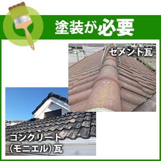 塗装が必要な瓦屋根