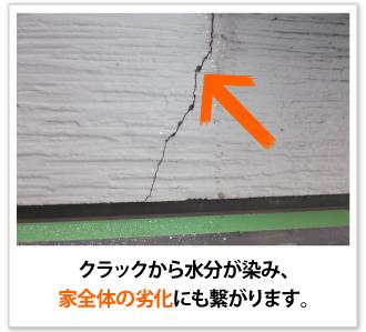クラックから水分が染み、家全体の劣化にも繋がります